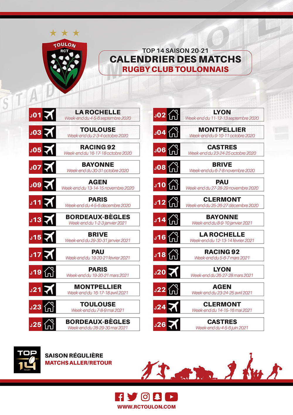 Calendrier Rct 2021 Calendrier RCT 2020 2021 Groupe Loudane