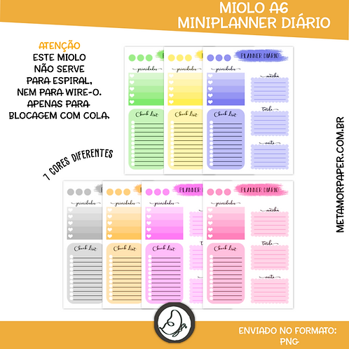 Paginas Mini Planner A6 Blocado