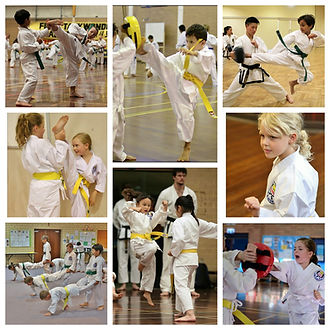 First Taekwondo Perth children students collage