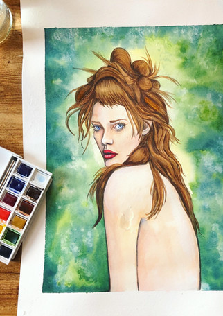 Femme Portrait in Watercolour