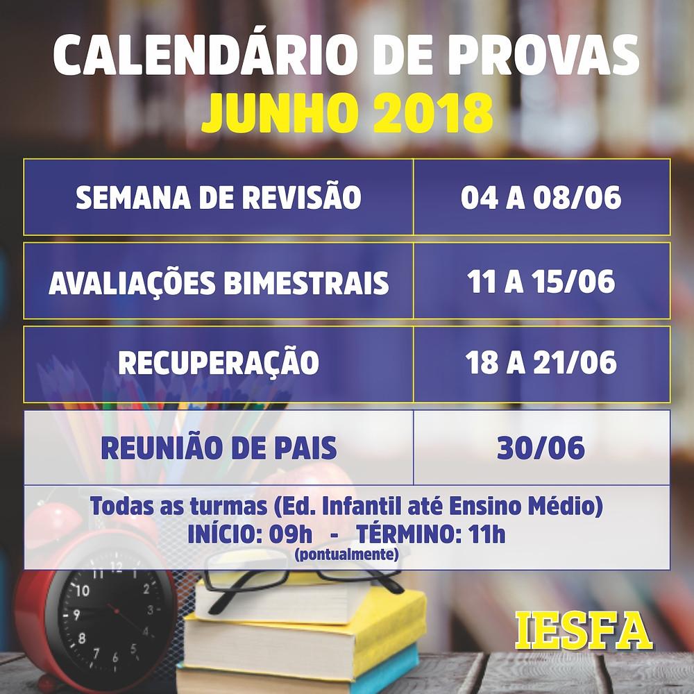 Calendário IESFA - Junho 2018