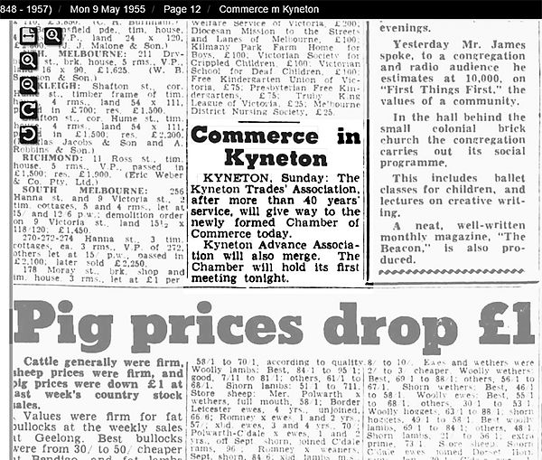 histoy of commerce in Kyneton