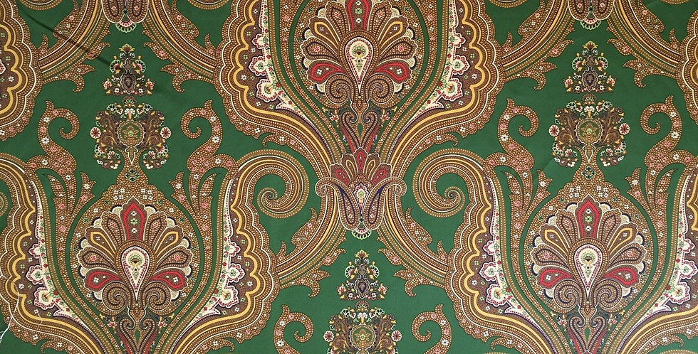 Paisley - Dark Green Fabric