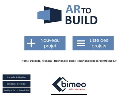 Cette image représente la page d'accueil de l'application ARtoBuild