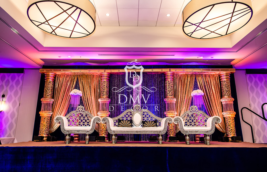 Pakistani-Wedding-Gold-Royal Blue-Stage
