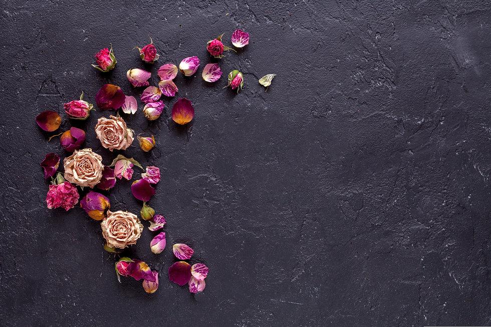 Beautiful flowers on grunge dark backgro