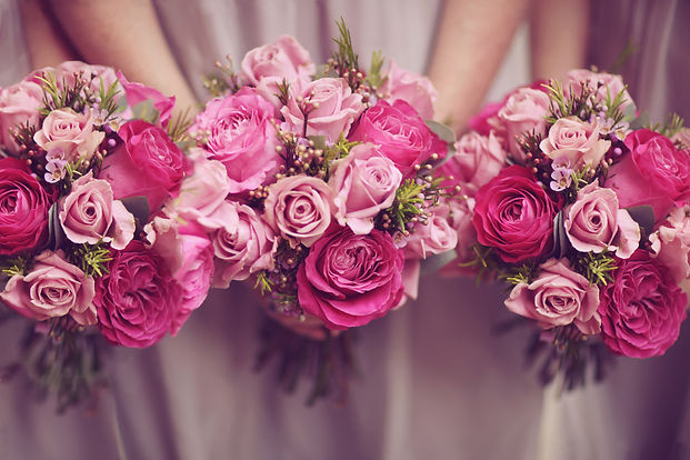 Trio of Pink Bridesmaid Posies.jpg
