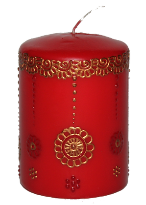 Red Candle With Copper Design