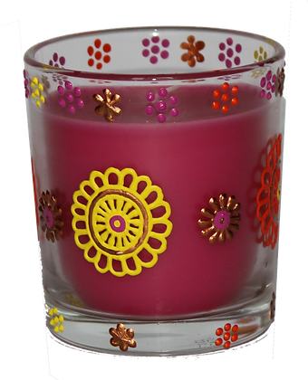 Pink Candle with Orange and Yellow Design