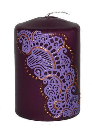 Purple Candle With Light Purple Design