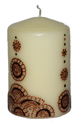 Cream Candle With Gold Design