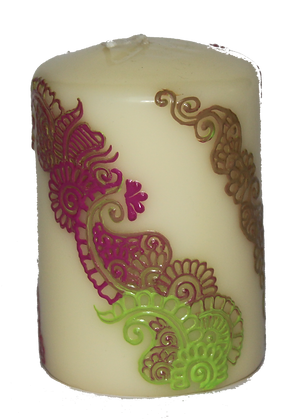 Cream Candle With Blended Green and Pink Design