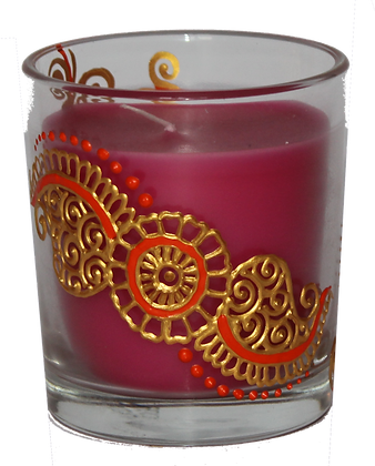 Pink Candle with Gold Design