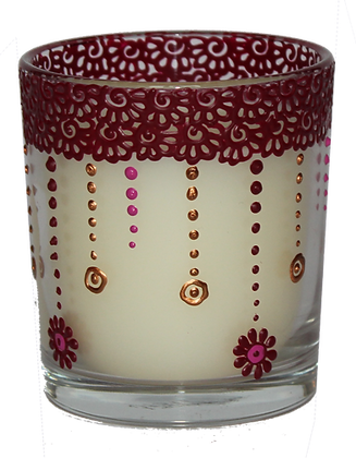 Cream Candle with Red Design