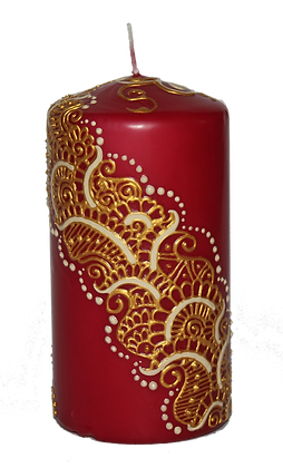Medium Deep Red Candle with Gold Design