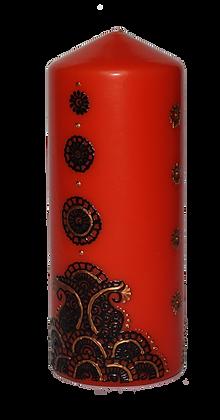Large Orange Candle with Dark Purple Design