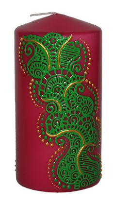 Medium Pink Candle with Green Design