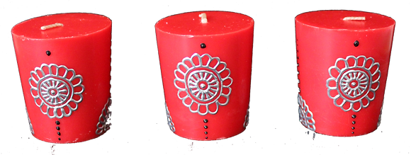 A Set of 3 Red Votive Candles