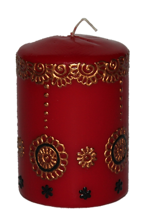 Deep Red Candle With Copper and Black Design