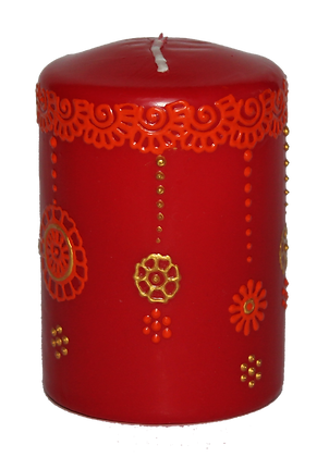 Red Candle With Orange Design