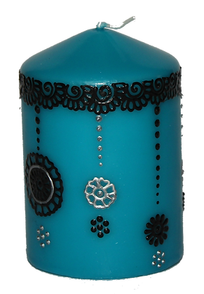 Cyan Blue Candle With Black Design