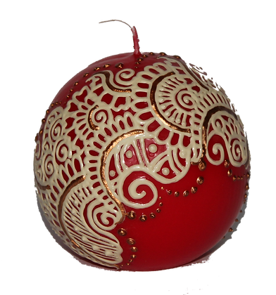 Red Ball Candle with Cream Design