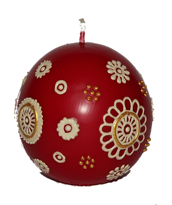 Deep Red Ball Candle with Cream Design