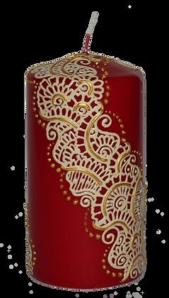 Medium Deep Red Candle with Cream Design