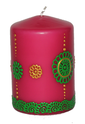 Pink Candle With Green Design