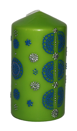 Medium Green Candle with Blue Design