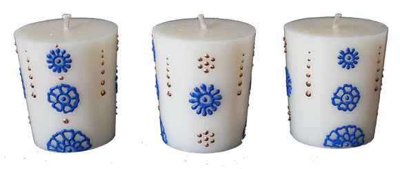 A Set of 3 Cream Votive Candles