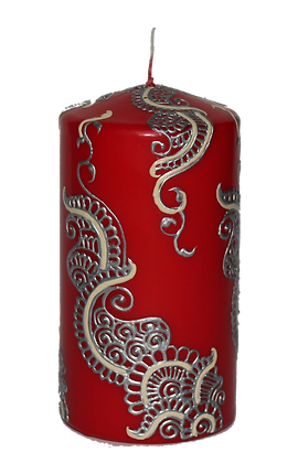 Medium Red Candle with Silver Design