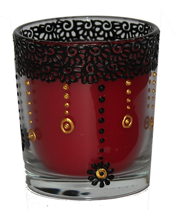 Deep Red Candle with Black Design