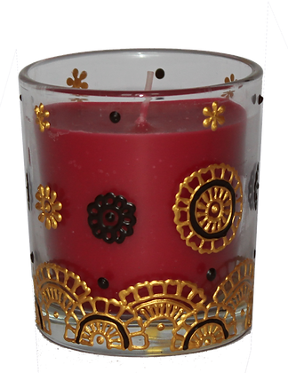 Deep Red Candle with Gold Design