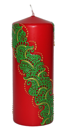 Large Red Candle with Green Design
