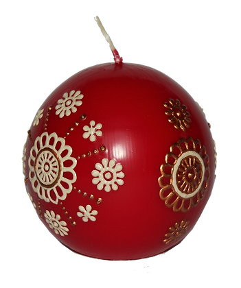Red Ball Candle with Cream & Copper Design