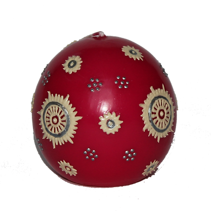 Pink Ball Candle with Cream Design