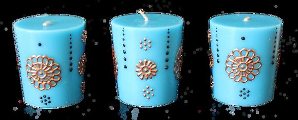 A Set of 3 Blue Votive Candles