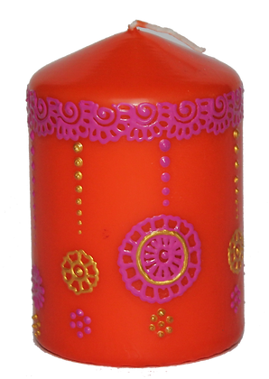 Orange Candle With Pink and Gold Design