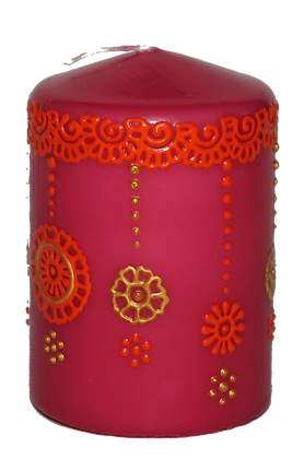 Pink Candle With Orange Design