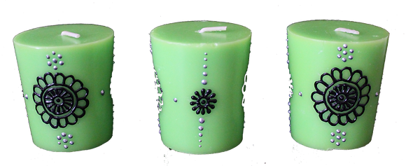 A Set of 3 Green Votive Candles
