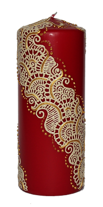 Large Deep Red Candle with Cream Design