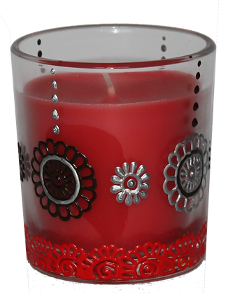 Red Candle with Black and Silver Design