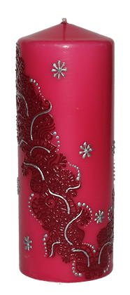 Large Pink Candle with Dark Pink Design