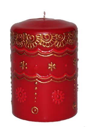 Red Candle With Mixed Colour Design
