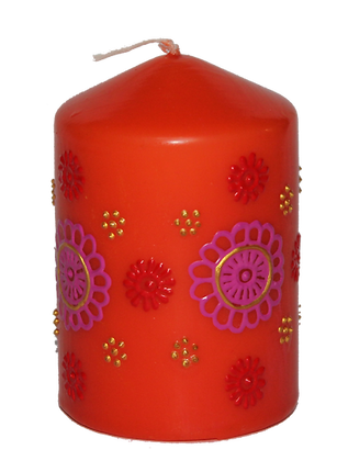 Orange Candle With Pink Design