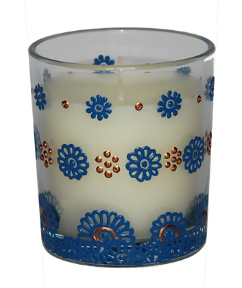 Cream Candle with Blue Design