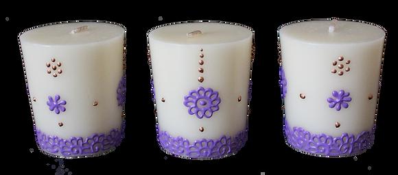 A Set of 3 Cream Votive Candles