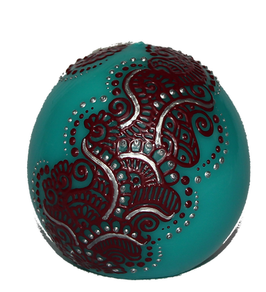 Cyan Blue Ball Candle with Majenta Design