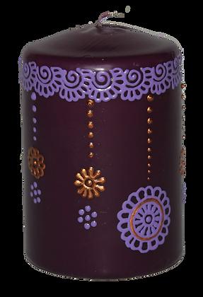 Purple Candle With Light Purple Design